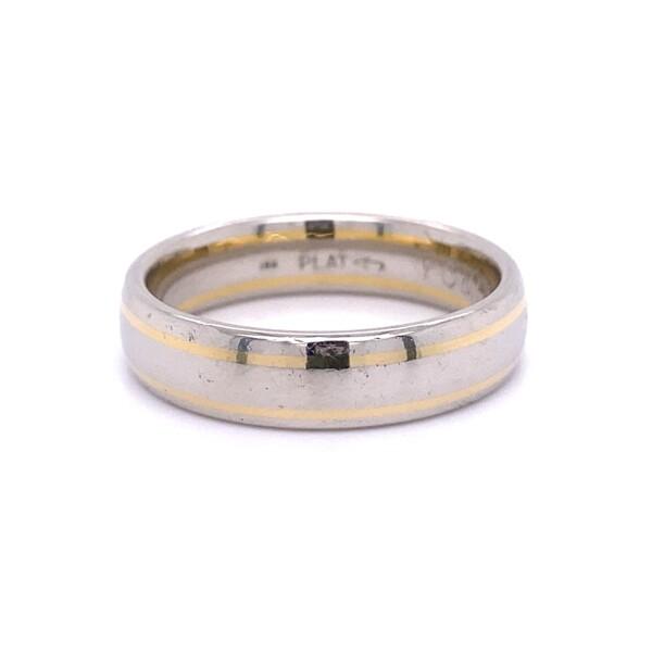 Closeup photo of Platinum & 18K Mens 6mm Band Ring 15.7g, s12