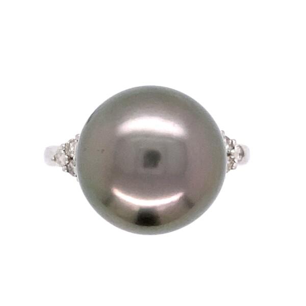 Closeup photo of Platinum 12.3mm Gray Pearl & .20tcw Diamond Ring 6.1g, s6