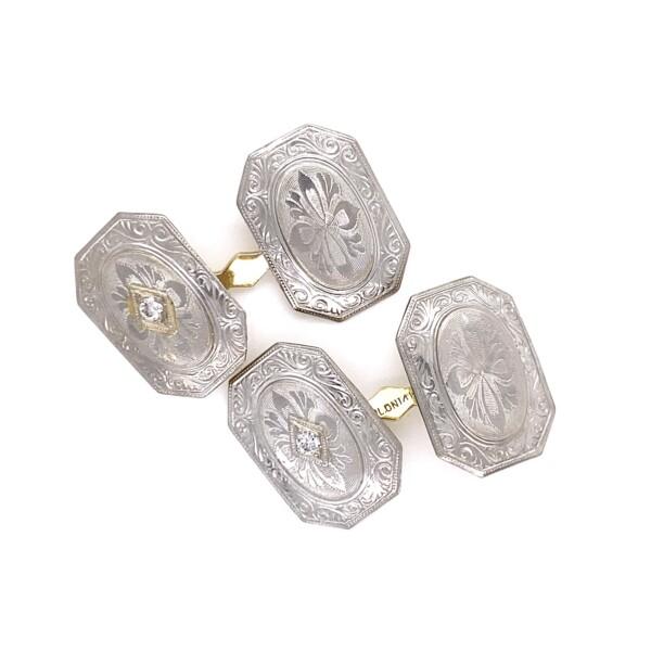 Closeup photo of Platinum on 14K .10tcw Diamond Cufflinks with Engraving 4.3g
