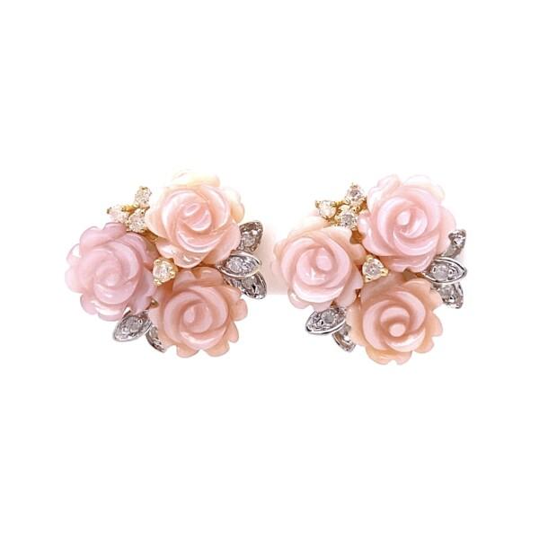 "Closeup photo of 14K YG Carved MOP Flower & .10tcw Diamond Earrings 4.8g, .6"""