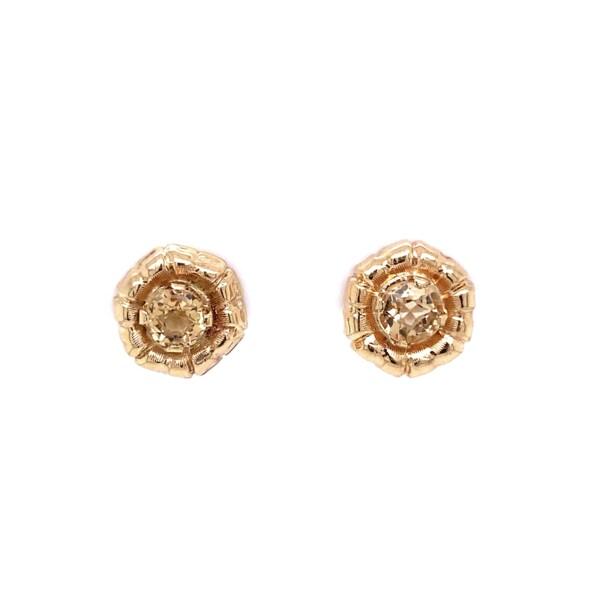 Closeup photo of 14K YG Yellow Stone Stud Earrings 4.2g
