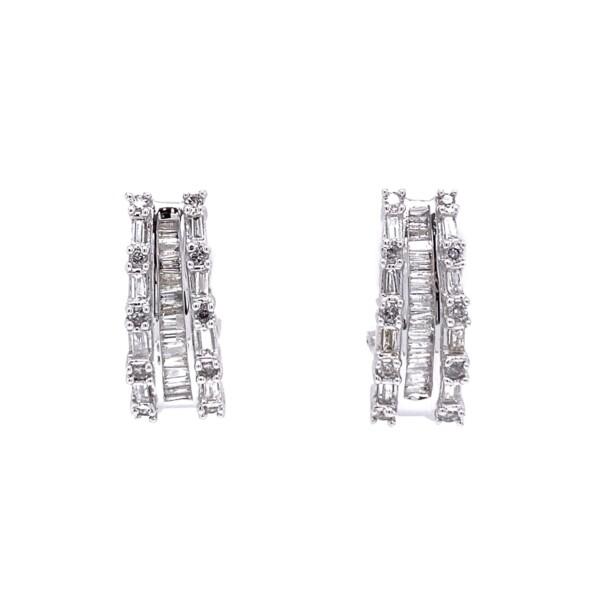 """Closeup photo of 14K WG .90tcw Baguette & Round Diamond Hoop Earrings 4.8g, .75"""""""
