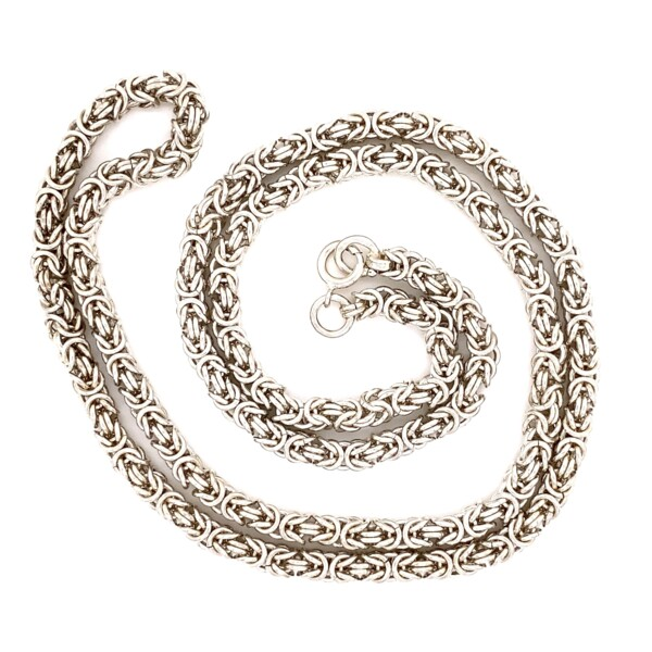 """Closeup photo of 925 Sterling Italian 5.7mm Weave Link 92.9g, 32"""""""