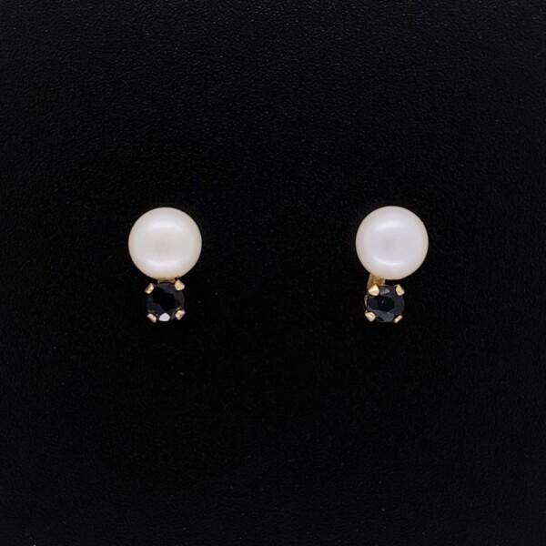 Closeup photo of 14K YG 5mm Pearl & .18tcw Sapphire Stud Earrings .8g