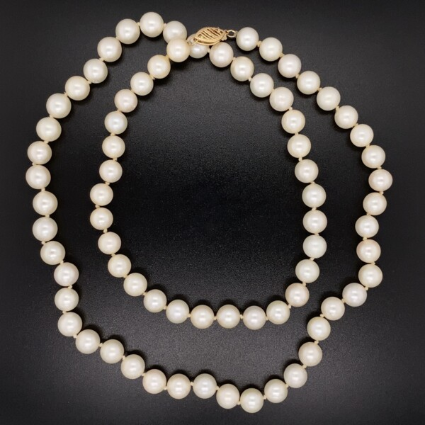 """Closeup photo of 7.25mm Freshwater Pearl Necklace 14K YG Clasp 40.6g, 24"""""""