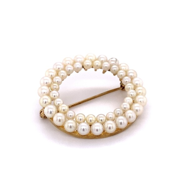 """Closeup photo of 14K YG Double Row Open Circle Pearl Brooch 5.4g, 1.25"""""""