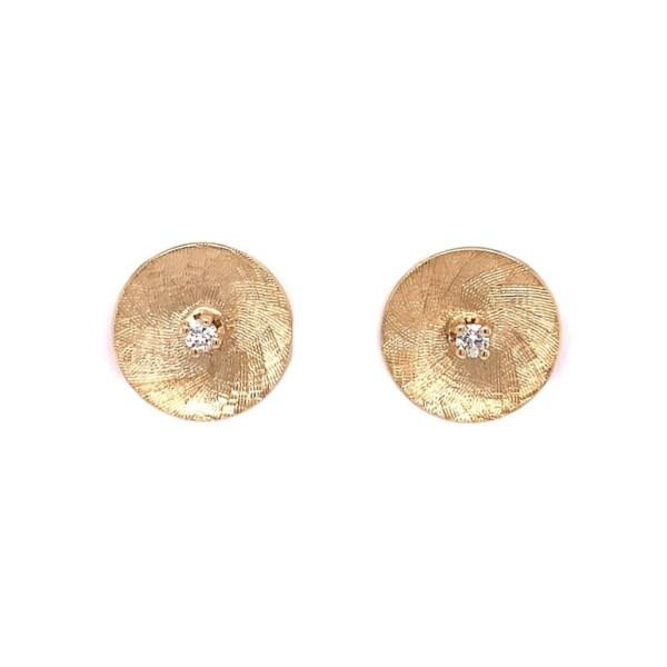Closeup photo of 14K YG Brushed Disc .05tcw Diamond Stud Earrings 2.4g, 11.5mm
