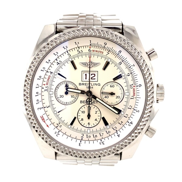 Closeup photo of Bentley A44362 Chronograph 48mm Steel White Dial Box & Papers