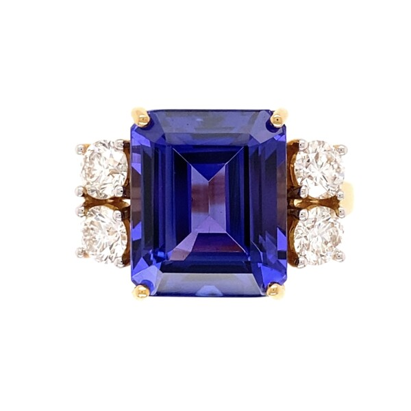 Closeup photo of 18K YG 6.63ct Emerald Cut Tanzanite & 1.05tcw Diamond Ring 7.2g, s7