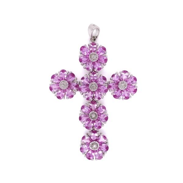 Closeup photo of 14K WG 8.60tcw Pink Sapphire & .04tcw Diamond Cross 10.5g