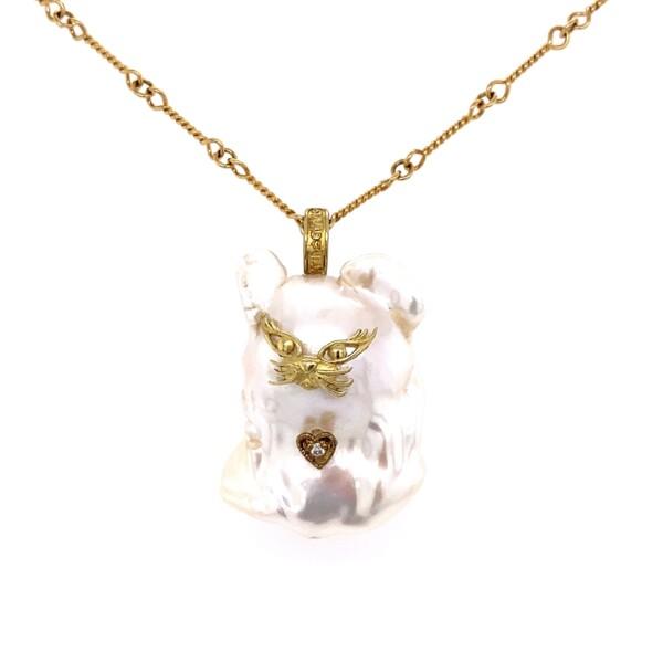 "Closeup photo of 18K YG Stambolian Baroque Pearl CAT Necklace .01ct Diamond 13.6g, 18"""