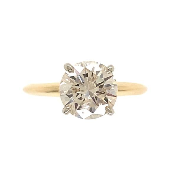 Closeup photo of 14K YG 2.19ct Bright Round Brilliant Diamond K-I1 TTLB Ring 2.7g, s7.75