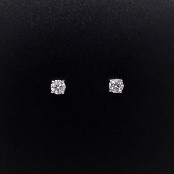 Closeup photo of .46tcw Diamond Stud Earrings G-VS1 in 18K WG 1.0g