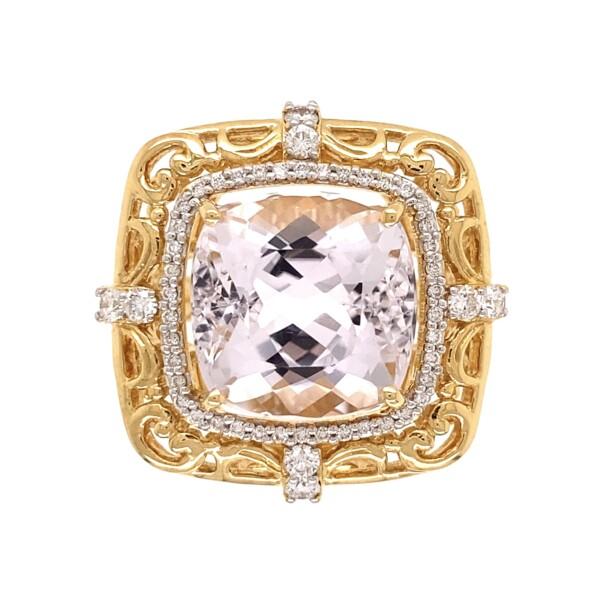 Closeup photo of 18K YG 11.17ct Cushion Kunzite & .58tcw Diamond Ring 13.4g, s7