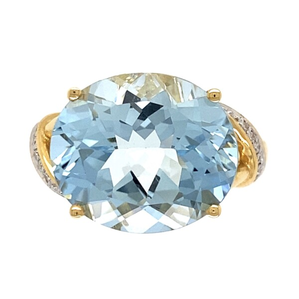 Closeup photo of 18K YG 7.61ct Oval Aquamarine & .10tcw Diamond Ring 7.4g, s7