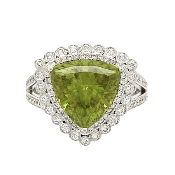 Closeup photo of 14K WG 5.50ct Trillion Sphene & .67tcw Diamond Ring 7.0g, s10.75