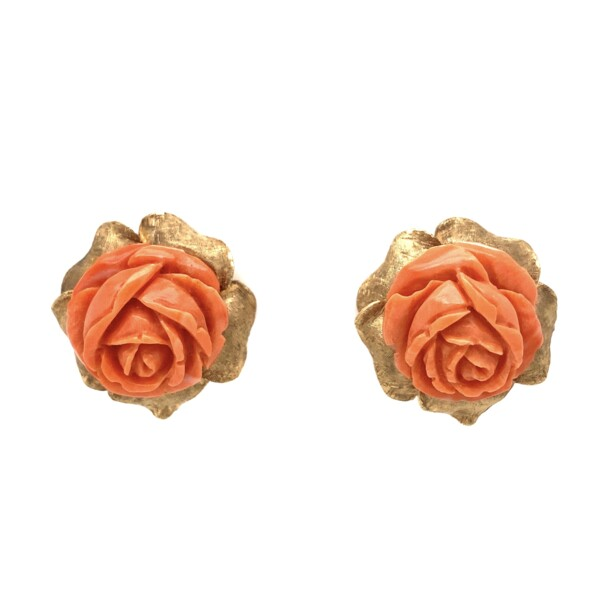 """Closeup photo of 14K YG 1960's Carved Flower Coral Earrings 16.8g, .9"""""""