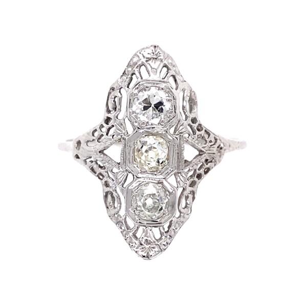 Closeup photo of 18K WG Art Deco 3 Stone Diamond Ring .55tcw, 2.4g, s11