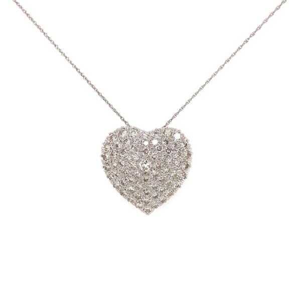 "Closeup photo of 14K WG 3.00tcw Pave Diamond Heart Necklace Brooch 7.9g, 18"""