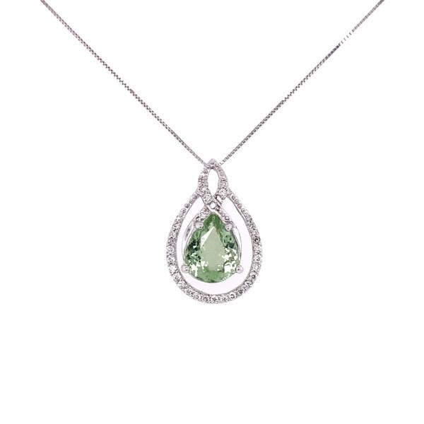 "Closeup photo of 18K WG 2.10ct Pear Shape Paraiba Tourmaline & .26tcw Diamond Necklace 4.5g, 18"""