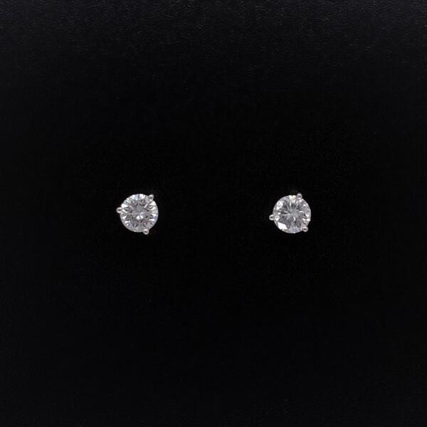 Closeup photo of .46tcw Diamond Stud Earrings G-VS2 Screw Back Posts 1.3g