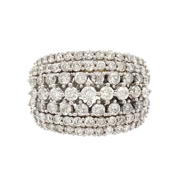 Closeup photo of 14K WG Cluster 4.00tcw Diamond Band Ring 13.2g, s10.25
