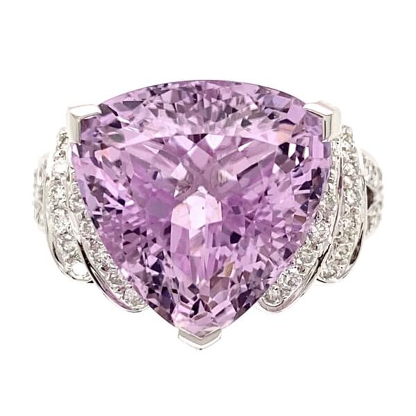 Closeup photo of 18K WG 12.65ct Trillion Kunzite & .58tcw Diamond Ring 10.7g, s7.25