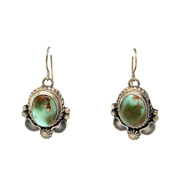 Closeup photo of 925 Sterling Thomas Francisco Turquoise Drop Earrings, 14.5g