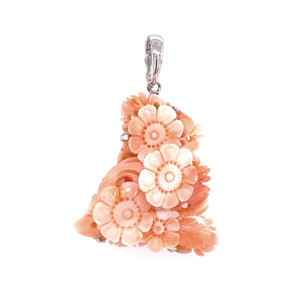 Closeup photo of 14K YG Carved Flowers Angelskin Coral Pendant 13.6g