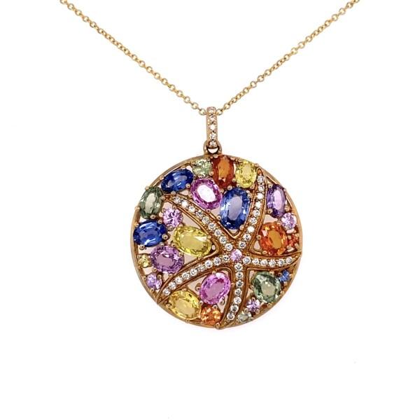 "Closeup photo of 14K YG EFFY 6.14tcw Rainbow Sapphire & .29tcw Diamond Cluster Starfish Circle Necklace 8.3g, 16"""
