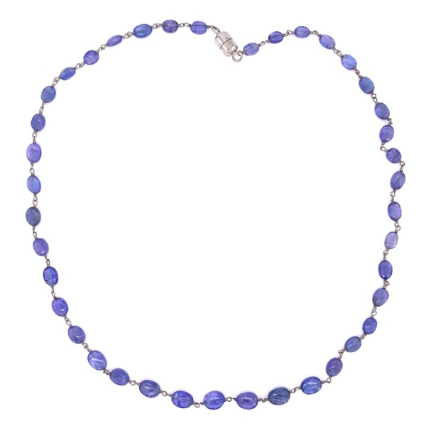 """Closeup photo of 925 Sterling 35tcw Tanzanite Bead Necklace 18"""" Magentic Clasp PULL SIDEWAYS"""
