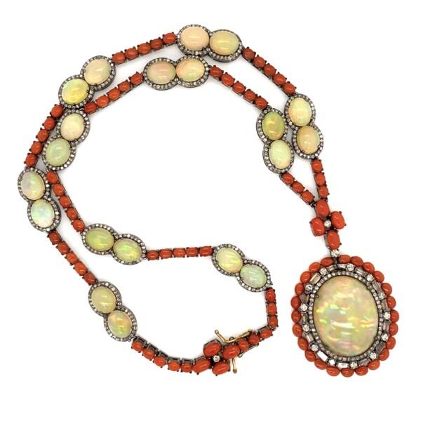"""Closeup photo of 925 14K 44.13tcw Opal, 17tcw Coral & 3.30tcw Diamond Necklace 47.3g, 18"""""""