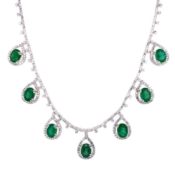 """Closeup photo of 14K WG 7.76tcw Oval Emerald Drop & 2.54tcw Diamond Necklace 19.8g, 18"""""""