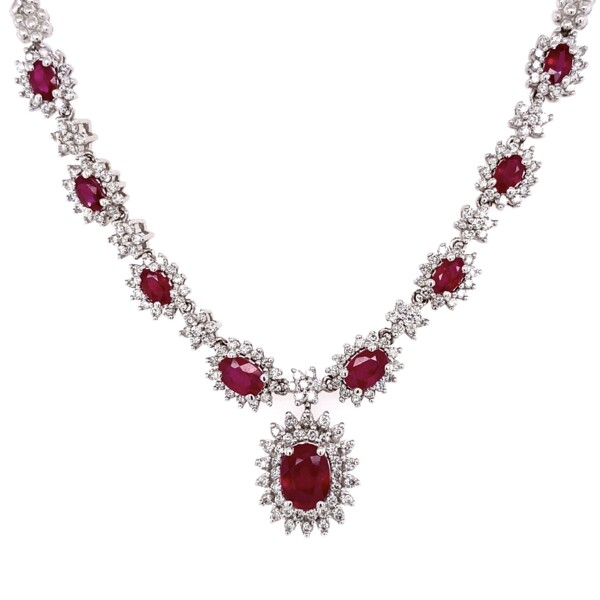 """Closeup photo of 14K WG EFFY 2.90tcw Ruby &1.12tcw Diamond Necklace 32.4g, 16"""""""