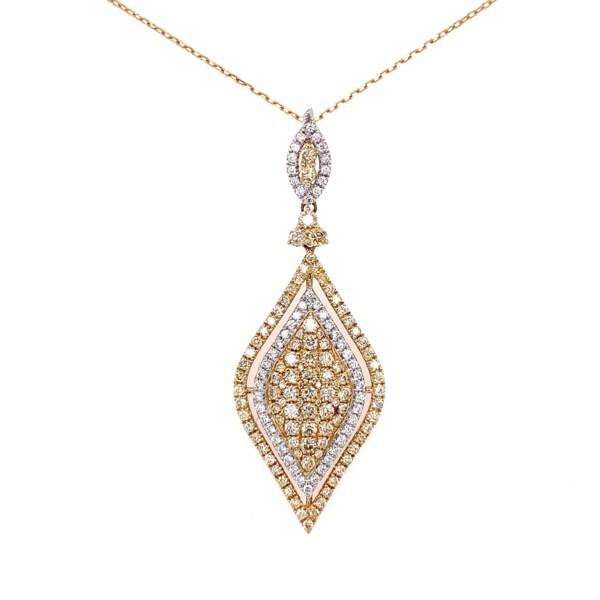 """Closeup photo of 14K YG 2.16tcw White & Yellow Diamond Necklace 6.9g, 18"""""""