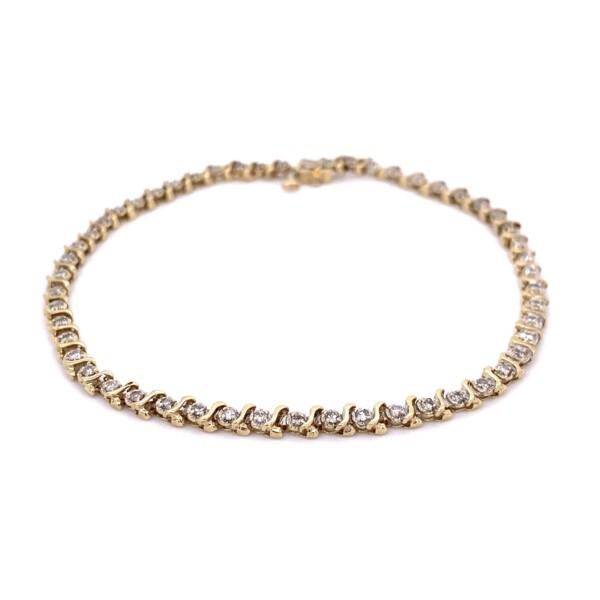 """Closeup photo of 14K YG 1.15tcw Diamond Wave Line Bracelet 7.3g, 8.3"""""""