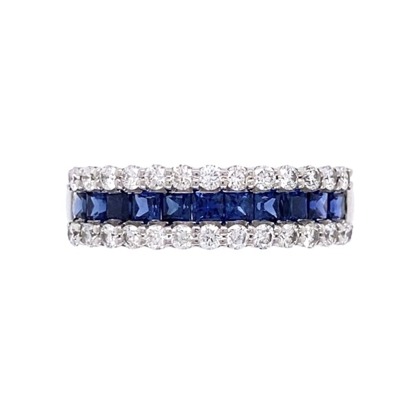 Closeup photo of Platinum .71tcw Sapphire & .42tcw Diamond 5.5mm Band 4.8g, s6