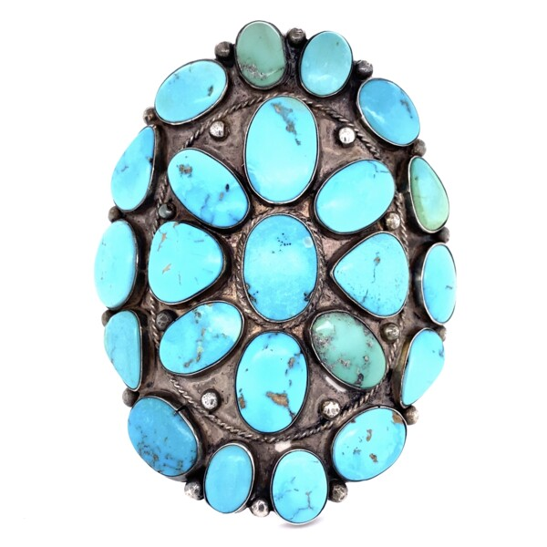 """Closeup photo of 925 Sterling Native Large Turquoise Cuff 109.8g, 3.5"""""""