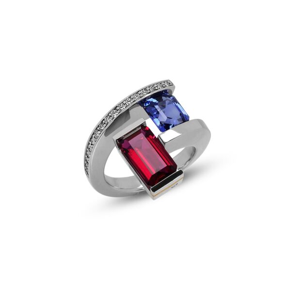 Closeup photo of 2-Stone Helix Ring with Tension-Set Blue Sapphire and Rubellite