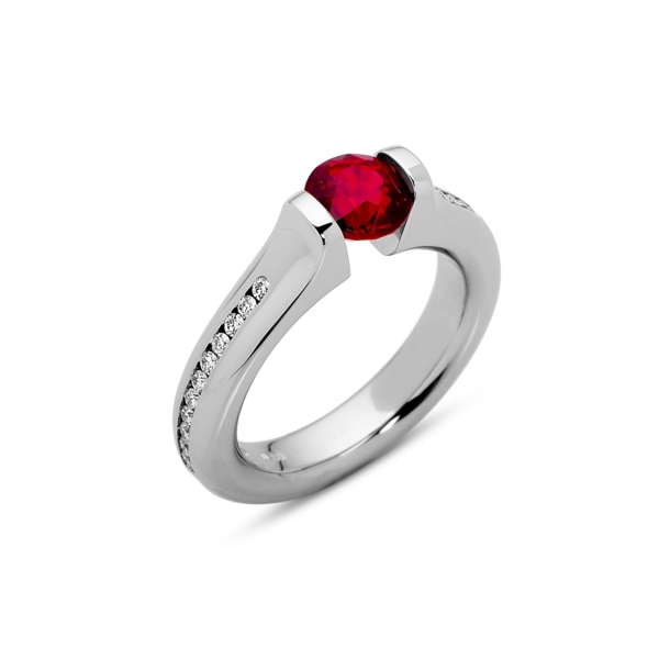 Closeup photo of 1.42 ct. Ruby set in Omega Full Channel Ring