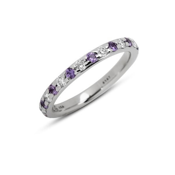 Closeup photo of 1.88 mm Hala Band with Lavender Sapphires and Diamonds