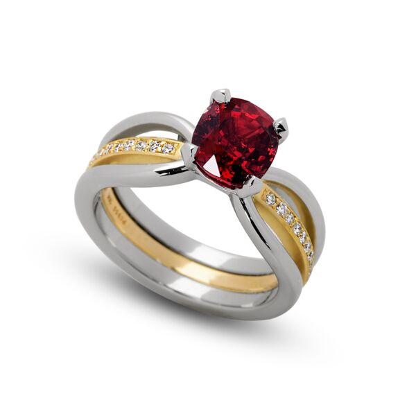Closeup photo of 2.04 ct. Red Spinel set in Eliana Ring