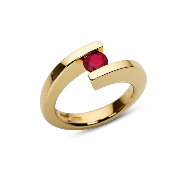 Closeup photo of 0.80 ct. Ruby set in HTF Ring