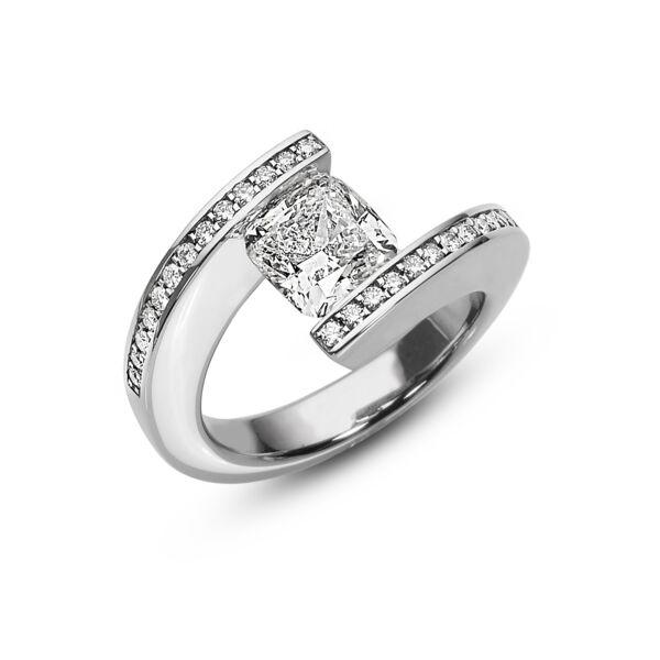 Closeup photo of 2.16 ct. Cushion Diamond set in pave HTF Ring