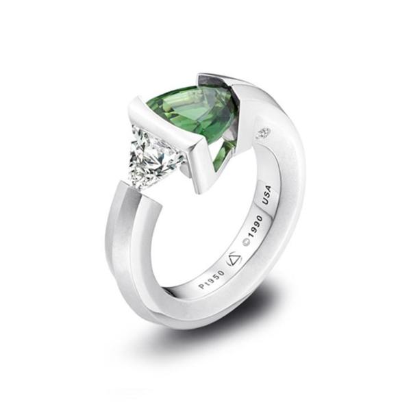 Closeup photo of 2-Stone Chrome Tourmaline and Diamond Ring