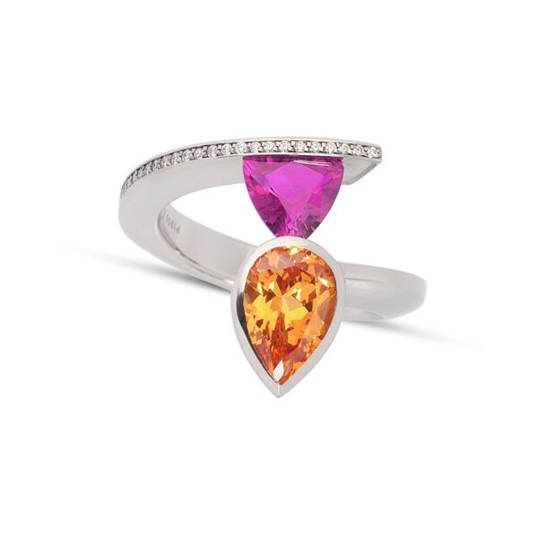 Closeup photo of 2-Stone Pink Sapphire and Spessartite Ring