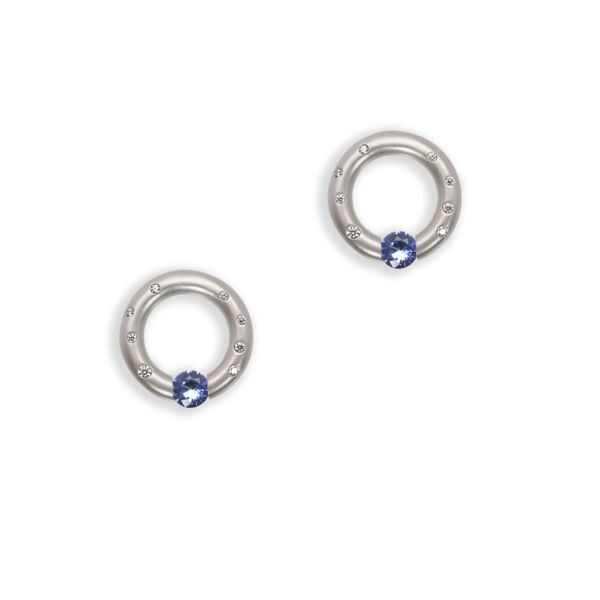Closeup photo of Scattered melee Round Earrings with Blue Sapphires