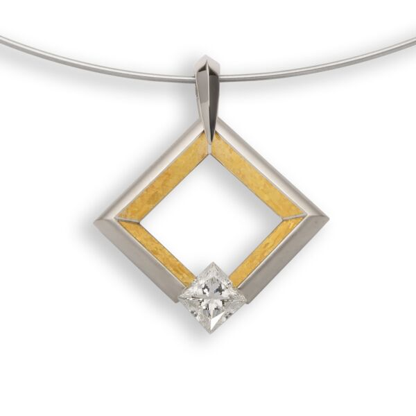 Closeup photo of Large Square Pendant with 24K Inlay