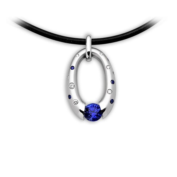 Closeup photo of Small Oval Pendant with Scattered Melee and Tension-Set Blue Sapphire