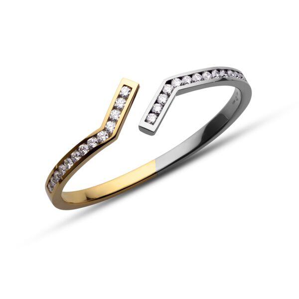 Closeup photo of Two-Tone Diamond Zig Cuff Bracelet